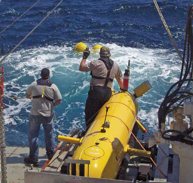 The Eagle Ray, an autonomous underwater vehicle, uses sensors to provide high-resolution seafloor maps.