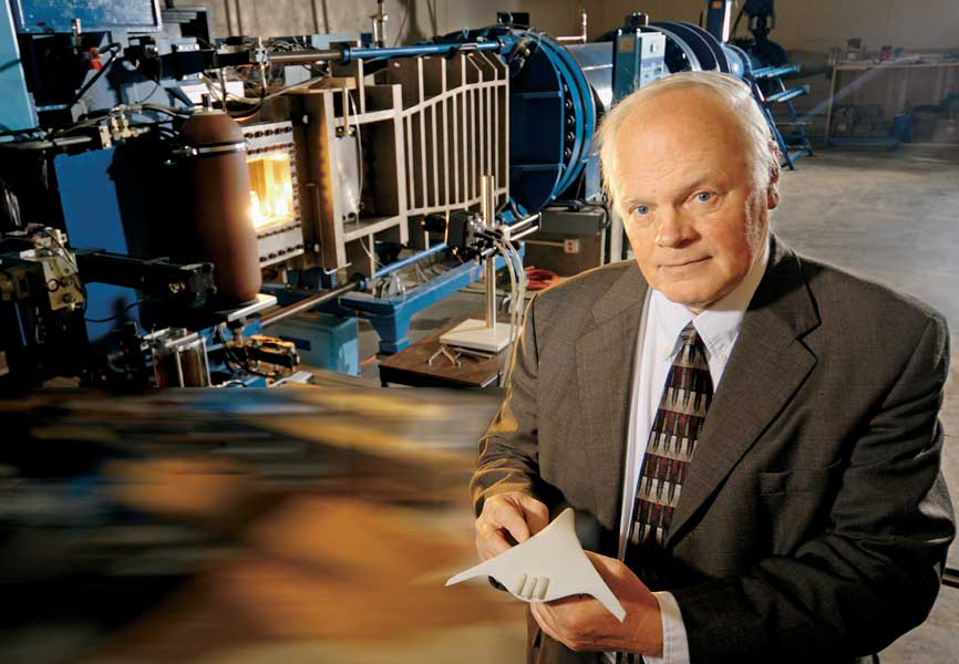 Dr. Jack Seiner conducts wind tunnel experiments to research aeroacoustics.