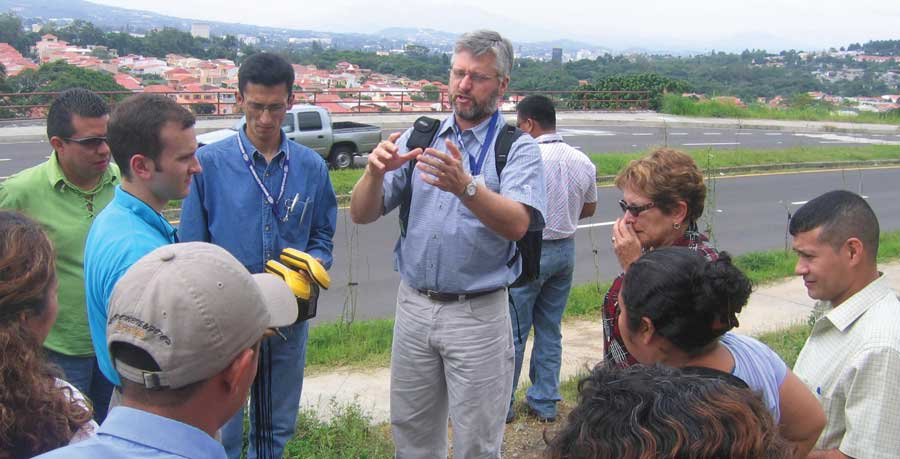 Dr. Greg Easson directs information collection in El Salvador.