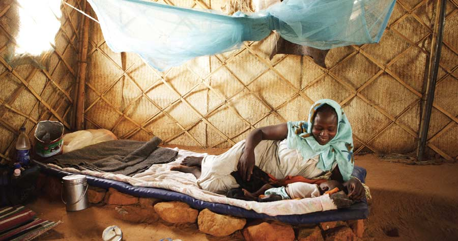 About 90 percent of malaria deaths occur in children.