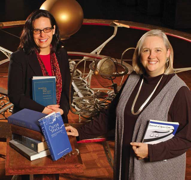 Attorneys Jacqueline Serrao (left) and Joanne Gabrynowicz of the National Center for Remote Sensing, Air and Space Law